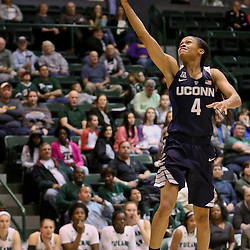 Feb 3, 2016; New Orleans, LA, USA; Connecticut Huskies guard Moriah Jefferson (4) shoots against the Tulane Green Wave during the second quarter of a game at the Devlin Fieldhouse. Mandatory Credit: Derick E. Hingle-USA TODAY Sports