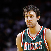 22 January 2012: Milwaukee Bucks center Andrew Bogut (6) is seen during the Milwaukee Bucks 91-82 victory over the Miami Heat at the AmericanAirlines Arena, Miami, Florida, USA.