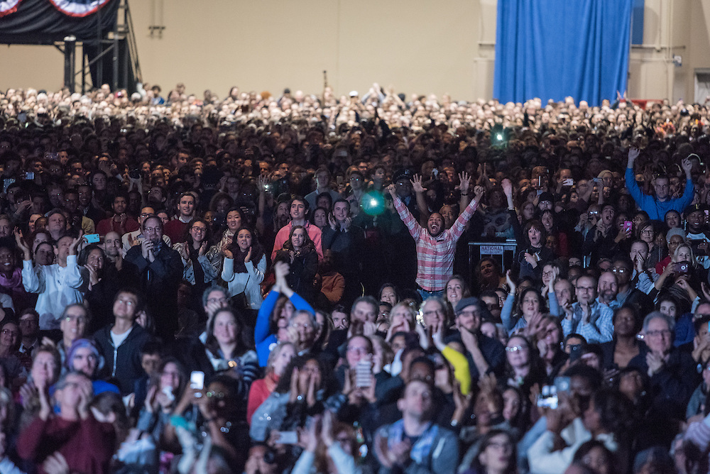 The audience at McCormick Place erupts in cheer as President Obama makes his closing remarks during his farewell address on January 10, 2017.