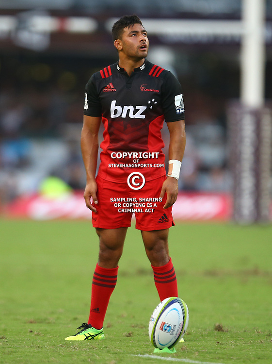 DURBAN, SOUTH AFRICA - MARCH 26: Richie Mo'unga of the BNZ Crusaders during the Super Rugby match between Cell C Sharks and BNZ Crusaders at Growthpoint Kings Park on March 26, 2016 in Durban, South Africa. (Photo by Steve Haag/Gallo Images)