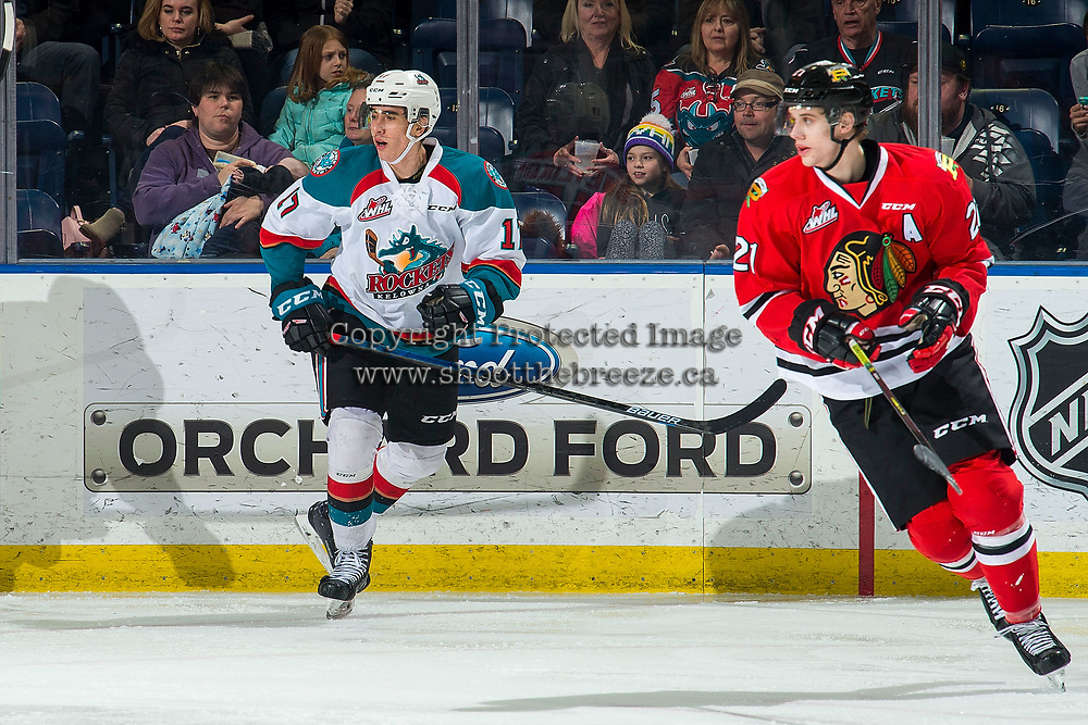 KELOWNA, BC - MARCH 03:  Alex Swetlikoff #17 of the Kelowna Rockets skates against the Portland Winterhawks at Prospera Place on March 3, 2019 in Kelowna, Canada. (Photo by Marissa Baecker/Getty Images)