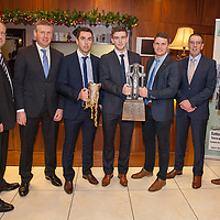 Jimmy Browne, Selector, Donal Moloney, Co-Manager, Conor McGrath, Tony Kelly (Capt), ??????????????, Gerry O'Connor, Co Manager and Paul Kinnerk, Coach, at the Clare U21 Hurling Final Winners Medal presentation in the West County Hotel on Saturday 06 Dec