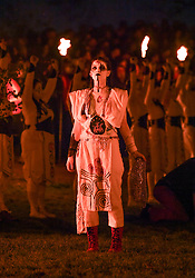 Pictured: the May Queen with her entourage during the festival.<br /> <br /> The spectacular annual Beltane Fire Festival takes place on Calton Hill in Edinburgh to herald in the start of summer.<br /> <br /> © Dave Johnston / EEm