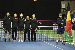 February 9, 2019 - Liege, BELGIQUE - LIEGE, BELGIUM - FEBRUARY 9 : Johan VAN HERCK captain of Belgium, Elise MERTENS, Alison VAN UYTVANCK, Kirsten FLIPKENS, Ysaline BONAVENTURE pictured during the opening ceremony before the World Group First Round Fed Cup Game between Belgium and France on February 09, 2019 in Liege, Belgium, 9/02/2019 (Credit Image: © Panoramic via ZUMA Press)