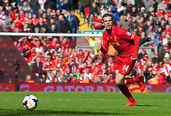 LIVERPOOL, ENGLAND - Sunday, May 11, 2014: Liverpool's Jordan Henderson in action against Newcastle United during the Premiership match at Anfield. (Pic by David Rawcliffe/Propaganda)