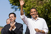 23 OCTOBER 2006 - TEMPE, AZ: Phoenix, AZ, mayor Phil Gordon (Left) applauds for US Sen Barack Obama ( D - ILL) when he came to Tempe, AZ, to campaign on behalf of Arizona Democrats during a rally in Tempe, AZ. PHOTO BY JACK KURTZ