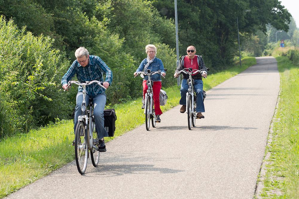 Nederland, Duiven, 05-07-2013<br /> Fietsers rijden bij Duiven met een elektrische fiets over snelfietsroute De Liemers, de snelfietsroute tussen Arnhem en Zevenaar.  De snelfietsroute kent weinig obstakels en moet het aantrekkelijk maken om ook langere afstanden met de fiets af te leggen.<br /> <br /> Cyclists ride with an electrical bike on the De Liemers Route, the fast cycling route between Arnhem and Zevenaar. The fast cycle route has few obstacles and to make it attractive to commute long distances by bicycle.