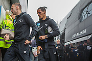Derby County striker Andreas Weimann & Derby County midfielder Tom Ince arrive at the stadium for the Sky Bet Championship match between Brighton and Hove Albion and Derby County at the American Express Community Stadium, Brighton and Hove, England on 2 May 2016. Photo by Bennett Dean.