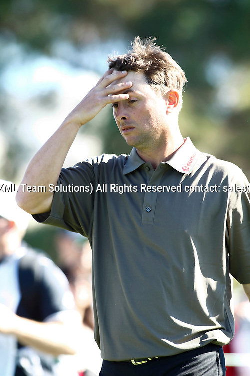February 7, 2015:  Spencer Levin agonizes over his 18th hole drive on the Torrey Pines Golf Course during the third round of the Farmers Insurance Open in San Diego, Ca.
