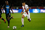 Kylian Mbappe of PSG in action against Odilon Kossounou of Club Brugge during the UEFA Champions League, Group A football match between Paris Saint-Germain and Club Brugge on November 6, 2019 at Parc des Princes stadium in Paris, France - Photo Mehdi Taamallah / ProSportsImages / DPPI
