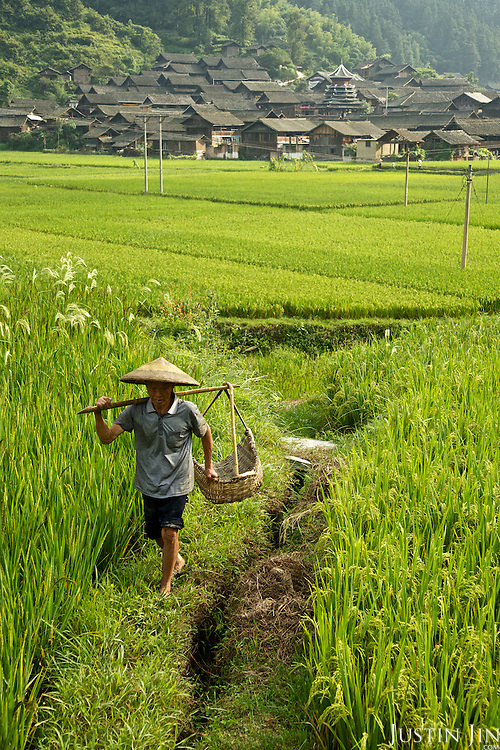 A farmer walking in a village near Dimen.