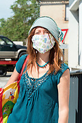 woman with selfmade mask during the Covid 19 crisis and lockdown France Limoux May 2020