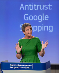 European Commissioner for Competition Margrethe Vestager gives a press conference on an antitrust case againts US search engine Google the European Commission in Brussels, Belgium, on June 27, 2017. The European Commission fined Google 2.42 billion Euros for abusing dominance as search engine by giving illegal advantage to own comparison shopping service. Photo by Thierry Monasse/AND/ABACAPRESS.COM