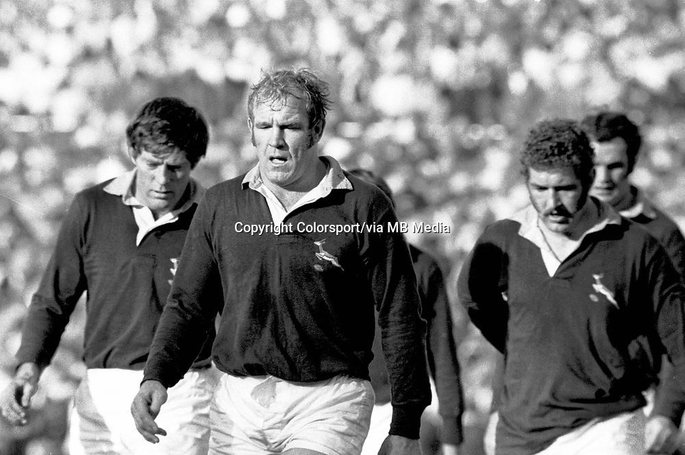 Hannes Marais (Captain) - South Africa. Jan Ellis (left) and Bezui Denhout (right). British Lions v South Africa, 4th. Test @ Ellis Park, 27/7/74. Credit: Colorsport.