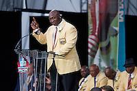 07 August 2010: Former Minnesota Vikings defensive lineman John Randall speaks during his enshrinement into the Pro Football Hall of Fame in Canton, Ohio.