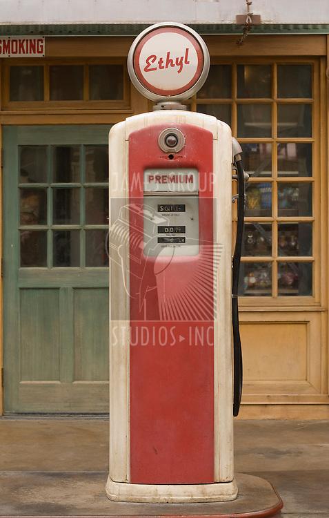 Vintage gas pump featuring ethyl gas