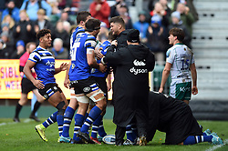 Will Chudley of Bath Rugby celebrates his first half try with team-mates - Mandatory byline: Patrick Khachfe/JMP - 07966 386802 - 09/11/2019 - RUGBY UNION - The Recreation Ground - Bath, England - Bath Rugby v Northampton Saints - Gallagher Premiership