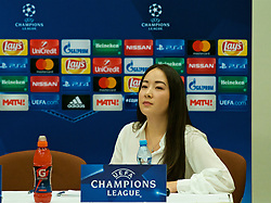 MOSCOW, RUSSIA - Monday, September 25, 2017: Translator Valeriya during a press conference at the Sheraton Airport Hotel ahead of the UEFA Champions League Group E match against Spartak Moscow FC. (Pic by David Rawcliffe/Propaganda)