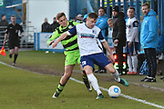 Forest Green Rovers Charlie Cooper(20) and Barrow's Paul Turnbull (17) during the Vanarama National League match between Barrow and Forest Green Rovers at Holker Street, Barrow, United Kingdom on 28 January 2017. Photo by Mark Pollitt.