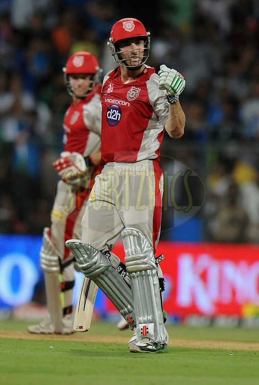 Shaun Marsh of Kings XI Punjab celebrates after as he gets close to the chasing total  during match 28 of the Indian Premier League ( IPL) 2012  between The Mumbai Indians and the Kings X1 Punjab held at the Wankhede Stadium in Mumbai on the 22nd April 2012..Photo by Pal Pillai/IPL/SPORTZPICS..