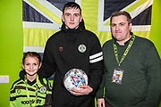 Match sponsor Tetbury Audi with man of the match Forest Green Rovers Liam Kitching(20) during the EFL Sky Bet League 2 match between Forest Green Rovers and Exeter City at the New Lawn, Forest Green, United Kingdom on 1 January 2020.