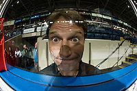 KELOWNA, CANADA - SEPTEMBER 24: The Kelowna Rockets athletic therapist, Scott Hoyer hams it up for the camera on September 24, 2016 at Prospera Place in Kelowna, British Columbia, Canada.  (Photo by Marissa Baecker/Shoot the Breeze)  *** Local Caption *** Scott Hoyer;