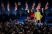 Presidential Candidate Barack Obama, his wife Michelle, his running mate Joe Biden and Bidens wife Jill on the stage on Hutchinson Field in Grant Park in Chicago, after winning the Presidential Election.