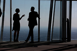 UK ENGLAND LONDON 21APR15 - Visitors enjoy a glass of champagne and the view from the private viewing platform on levels 69 and 72. The Shard London is an 87-storey skyscraper in Southwark, London, that forms part of the London Bridge Quarter development. <br /> <br /> Standing 306 metres high, the Shard is currently the tallest building in the European Union.<br /> <br />  <br /> <br /> jre/Photo by Jiri Rezac<br /> <br /> <br /> <br /> © Jiri Rezac 2015