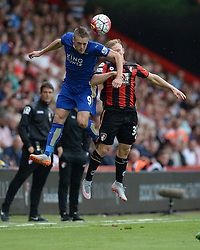Jamie Vardy of Leicester City Battles for a high ball with Matt Ritchie of Bournemouth - Mandatory byline: Alex James/JMP - 07966386802 - 29/08/2015 - FOOTBALL - Dean Court -Bournemouth,England - AFC Bournemouth v Leicester City - Barclays Premier League