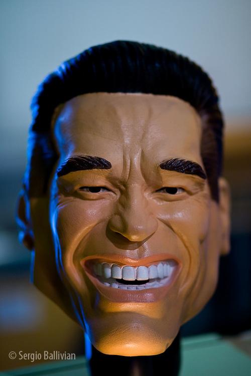 A rubber mask of Arnold Schwarzenegger in a shop in Portland, Oregon.