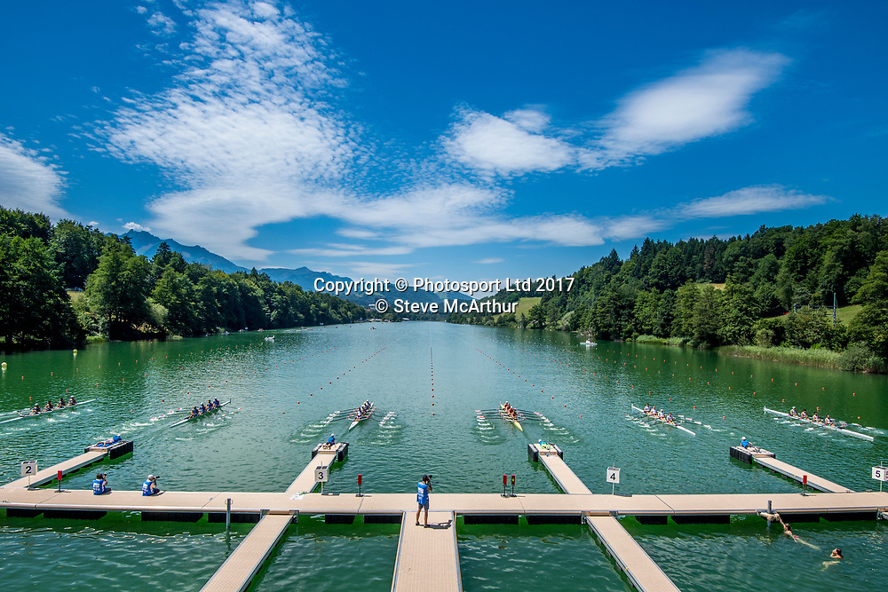 The view from the start at WCIII on the Rotsee, Lucerne, Switzerland, Friday 7th July 2017 © Copyright Steve McArthur / www.photosport.nz