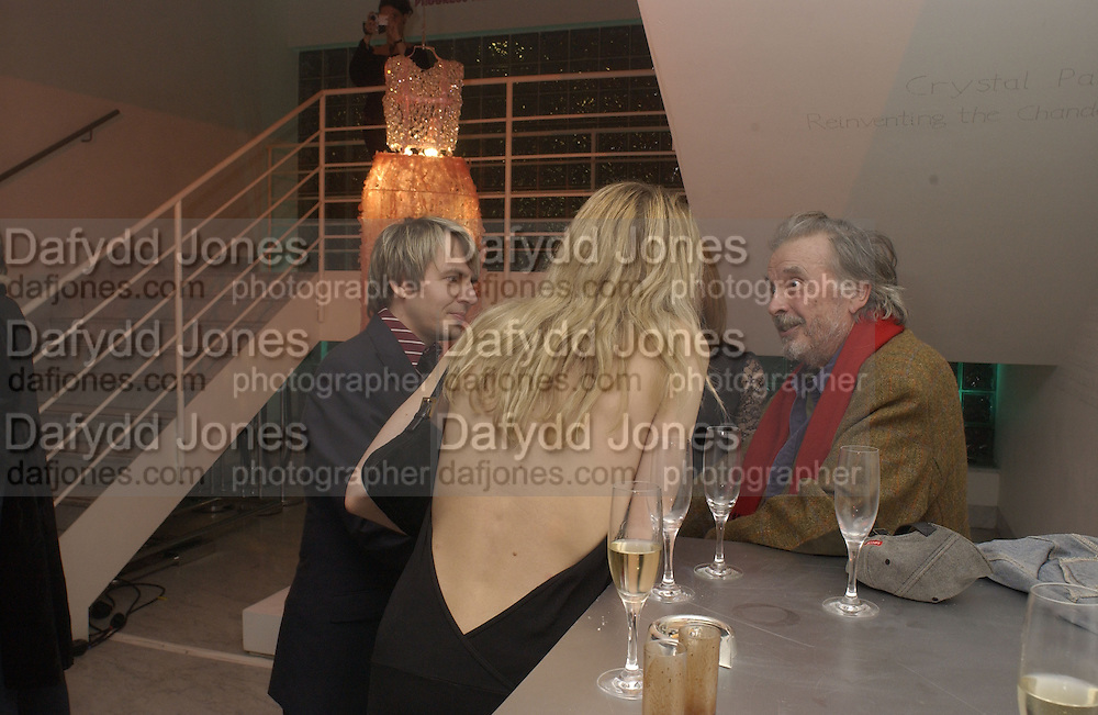 Nick Rhodes, Meredith Ostron and David Bailey. Private view for Unseen Vogue, Design museum. 31 November 2002. © Copyright Photograph by Dafydd Jones 66 Stockwell Park Rd. London SW9 0DA Tel 020 7733 0108 www.dafjones.com