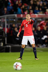 October 8, 2017 - Oslo, NORWAY - 171008  Mohamed Elyounoussi of Norway during the FIFA World Cup Qualifier match between Norway and Northern Ireland on October 8, 2017 in Oslo..Photo: Jon Olav Nesvold / BILDBYRÃ…N / kod JE / 160041 (Credit Image: © Jon Olav Nesvold/Bildbyran via ZUMA Wire)