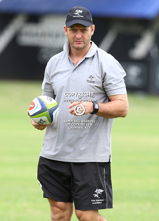 DURBAN, SOUTH AFRICA - JANUARY 13: Pieter Terblanche Manager Sharks Academy during the Cell C Sharks training session at Growthpoint Kings Park on January 13, 2017 in Durban, South Africa. (Photo by Steve Haag/Gallo Images)