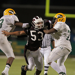 31 October, 2008:  St. Thomas Aquinas DL/OL Dion Patterson (#53) The St. Thomas Falcons recorded their first shut out of the season with a 41-0 shutout of the Southern Lab Kittens at Strawberry Stadium in Hammond, LA.
