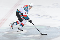 KELOWNA, CANADA - FEBRUARY 18: Damon Severson #7 of the Kelowna Rockets skates with the puck during the shoot out against the  Red Deer Rebels at the Kelowna Rockets on February 18, 2012 at Prospera Place in Kelowna, British Columbia, Canada (Photo by Marissa Baecker/Shoot the Breeze) *** Local Caption ***