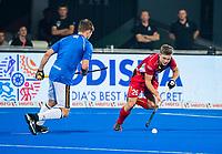 BHUBANESWAR (INDIA) - Martin Haner (Ger) als vliegende keeper  met Victor Wegnez (Belgie) ,   tijdens kwartfinale Duitsland-Belgie  bij het WK Hockey heren. COPYRIGHT KOEN SUYK