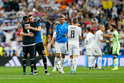 Keylor Navas and Francisco Casilla of Real Madrid celebrate after Real Madrid win 1-0 to progress for the Champions League Final - Mandatory byline: Rogan Thomson/JMP - 04/05/2016 - FOOTBALL - Santiago Bernabeu Stadium - Madrid, Spain - Real Madrid v Manchester City - UEFA Champions League Semi Finals: Second Leg.