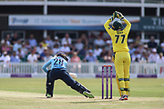 Danielle Wyatt of England (28) is given out caught behind by Alyssa Healy of Australia (77) during the Royal London Women's One Day International match between England Women Cricket and Australia at the Fischer County Ground, Grace Road, Leicester, United Kingdom on 4 July 2019.