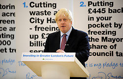 The Mayor Boris Johnson launching his Cutting Waste and Council Tax Manifesto in West London, during his Mayoral campaign,  Wednesday April 18, 2012. Photo By Andrew Parsons/i-Images