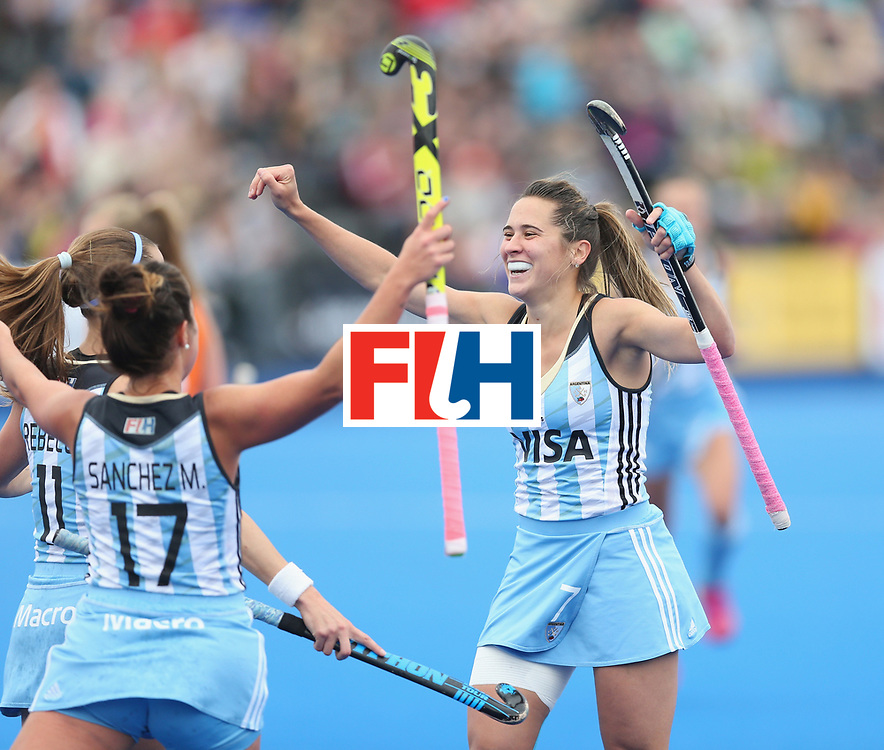 LONDON, ENGLAND - JUNE 26:  Martina Cavallero of Argentina celebrates after scoring their first goal during the FIH Women's Hockey Champions Trophy 2016 final match between Netherlands and Argentina at Queen Elizabeth Olympic Park on June 26, 2016 in London, England.  (Photo by Alex Morton/Getty Images)