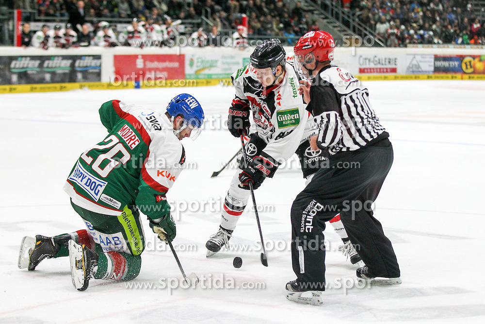 12.12.2014, Curt Fenzel Stadion, Augsburg, GER, DEL, Augsburger Panther vs Koelner Haie, 26. Runde, im Bild l-r: Bully, Greg Moore #26 (Augsburger Panther) und Philip Gogulla #87 (Koelner Haie) // during Germans DEL Icehockey League 26th round match between Augsburger Panther vs Koelner Haie at the Curt Fenzel Stadion in Augsburg, Germany on 2014/12/12. EXPA Pictures &copy; 2014, PhotoCredit: EXPA/ Eibner-Pressefoto/ Kolbert<br /> <br /> *****ATTENTION - OUT of GER*****