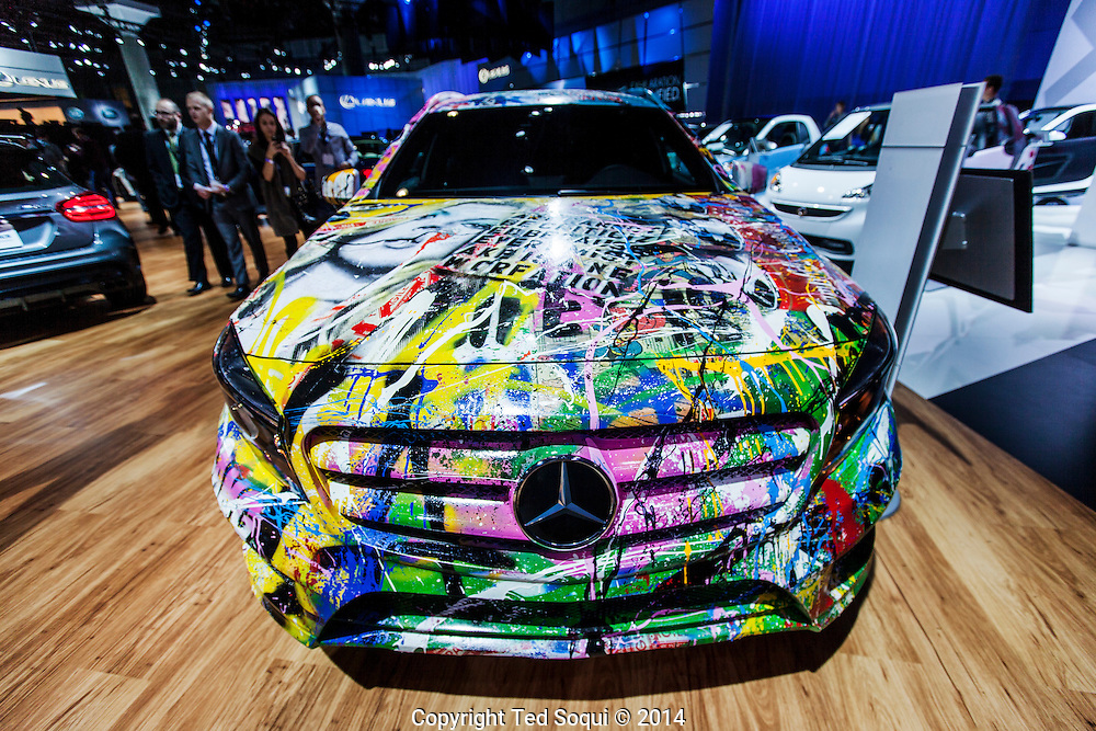 The 2014 Los Angeles Auto Show at the Los Angeles Convention Center.<br /> A Mercedes Benz GLA-Class car hand painted by graffiti artist, Mr. Brainwash.
