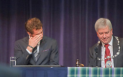 Andy break during his short speech. Andy Murray received the Freedom of Stirling from Stirling Council, who have recognised the Wimbledon champion's sporting achievements at a special council meeting at Dunblane High School.<br /> © Michael Schofield.