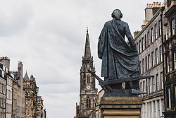 View of statue of Adam Smith on the Royal Mile in Edinburgh Old Town, Scotland, UK