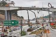 The two day 10 mile closure of the 405 freeway in L.A. known as Carmageddon begins..The Mulholland Drive bridge is undergoing partial demolition to eventually widen it to handle more traffic.