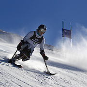 Stephen Lawler, USA, in action during the Men's Giant Slalom Sitting, Adaptive competition at Coronet Peak, during the Winter Games. Queenstown, New Zealand, 23rd August 2011. Photo Tim Clayton..