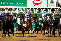 Nyquist with Mario Gutierrez up, center, breaks from the gate in the 142nd running of the Kentucky Derby, Saturday, May 07, 2016 at Churchill Downs in Louisville.