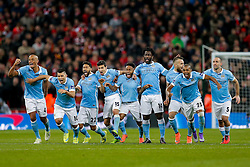 Manchester City celebrate as Yaya Toure scores his penalty to win the match and make teir side 2016 Capital One Cup Champions - Mandatory byline: Rogan Thomson/JMP - 28/02/2016 - FOOTBALL - Wembley Stadium - London, England - Liverpool v Manchester City - Capital One Cup Final.