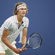 2017 U.S. Open Tennis Tournament - DAY THREE.  Alexander Zverev of Germany in action against Borna Coric of Croatia during the Men's Singles round two match at the US Open Tennis Tournament at the USTA Billie Jean King National Tennis Center on August 30, 2017 in Flushing, Queens, New York City.  (Photo by Tim Clayton/Corbis via Getty Images)